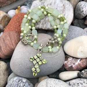 Sterling Silver Peridot-Pearl Necklace/Bracelet
